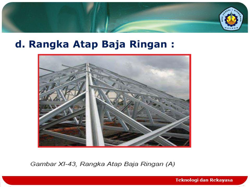 d. Rangka Atap Baja Ringan : Teknologi dan Rekayasa