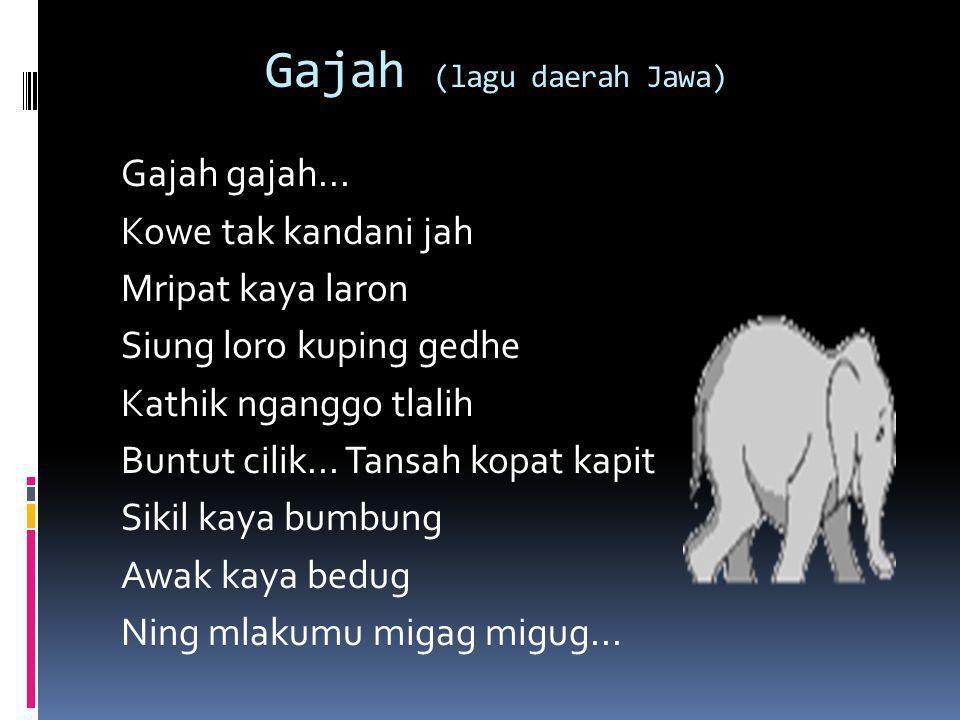 Gajah (lagu daerah Jawa) Gajah gajah... Kowe tak kandani jah Mripat kaya laron Siung loro kuping gedhe Kathik nganggo tlalih Buntut cilik... Tansah ko