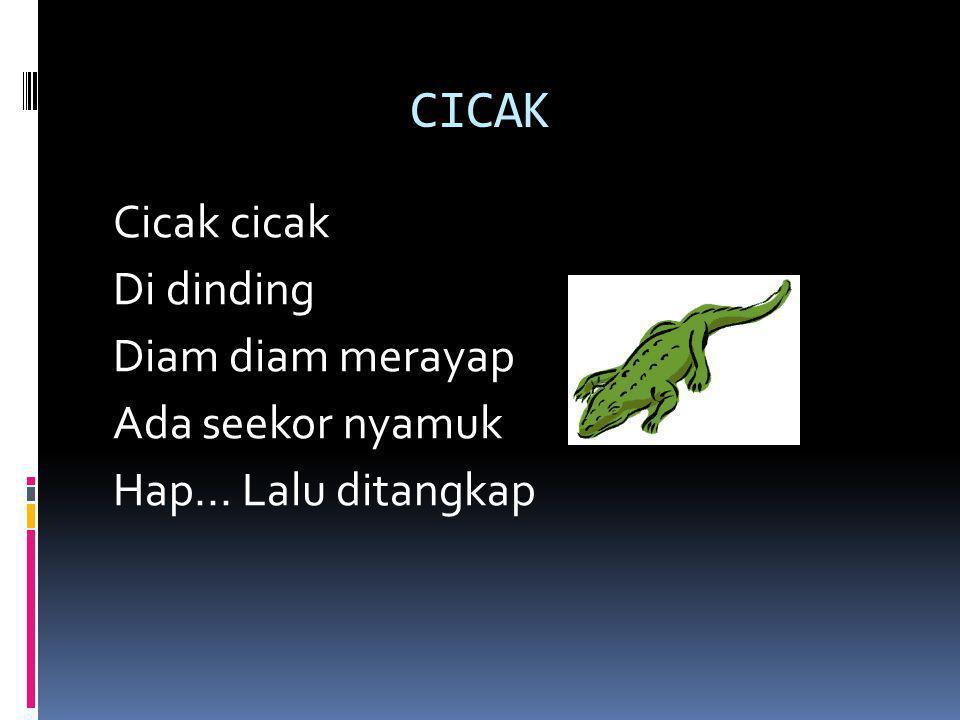 Kucingku (lagu daerah Jawa) Kucingku telu Kabeh lemu lemu Sing siji abang Sing loro klawu Meong....meong...