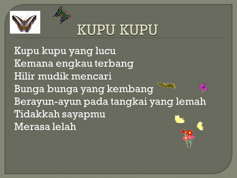 Ibu Kita Kartini (WR Supratman) Ibu kita Kartini Putri sejati Putri Indonesia Harum namanya Ibu kita Kartini Pendekar bangsa Pendekar kaumnya Untuk merdeka Wahai ibu kita Kartini putrid yang mulia Sungguh besar cita-citanya Bagi Indonesia