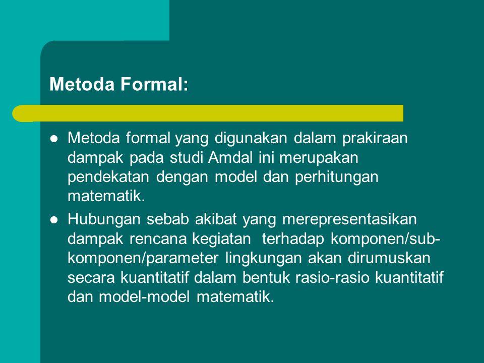  Metoda prakiraan dampak yang sering digunakan: kombinasi metoda formal (uraian deskriptif secara kuantitatif) dan metoda informal (uraian deskriptif
