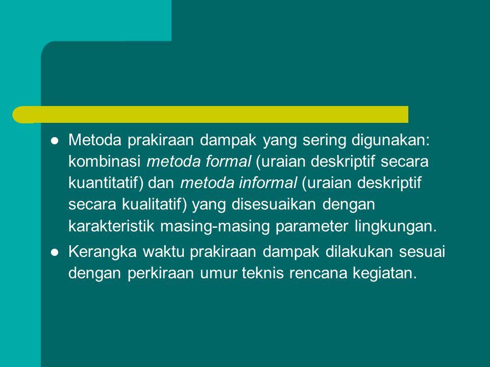 Metoda prediksi dampak:  Metoda formal, terdiri atas: – Model prakiraan cepat, – Model matematika, – Model fisis, – Model eksperimental.  Metoda inf