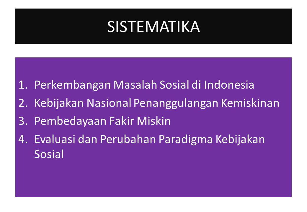 SISTEMATIKA 1.Perkembangan Masalah Sosial di Indonesia 2.Kebijakan Nasional Penanggulangan Kemiskinan 3.Pembedayaan Fakir Miskin 4.Evaluasi dan Peruba