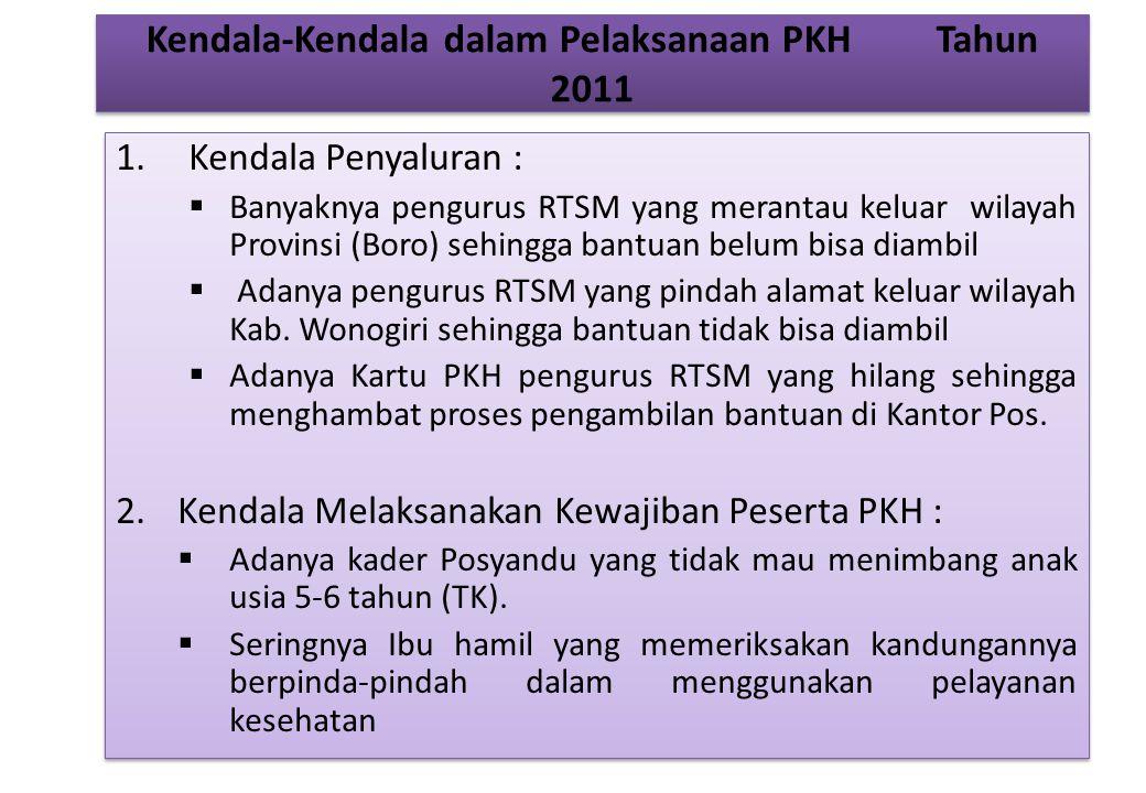 Kendala-Kendala dalam Pelaksanaan PKH Tahun 2011 1.Kendala Penyaluran :  Banyaknya pengurus RTSM yang merantau keluar wilayah Provinsi (Boro) sehingga bantuan belum bisa diambil  Adanya pengurus RTSM yang pindah alamat keluar wilayah Kab.