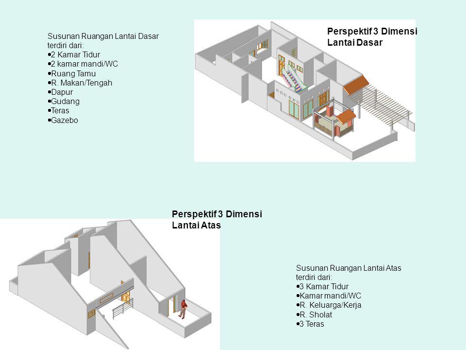 Perspektif 3 Dimensi Lantai Dasar Perspektif 3 Dimensi Lantai Atas Susunan Ruangan Lantai Dasar terdiri dari:  2 Kamar Tidur  2 kamar mandi/WC  Ruang Tamu  R.