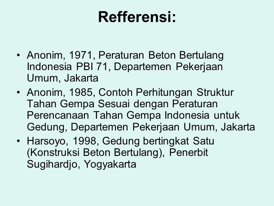 Refferensi: •Anonim, 1971, Peraturan Beton Bertulang Indonesia PBI 71, Departemen Pekerjaan Umum, Jakarta •Anonim, 1985, Contoh Perhitungan Struktur T