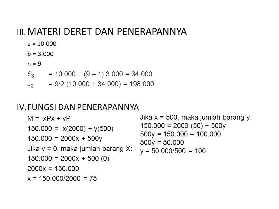 III. MATERI DERET DAN PENERAPANNYA a = 10.000 b = 3.000 n = 9 S 9 = 10.000 + (9 – 1) 3.000 = 34.000 J 9 = 9/2 (10.000 + 34.000) = 198.000 IV.FUNGSI DA