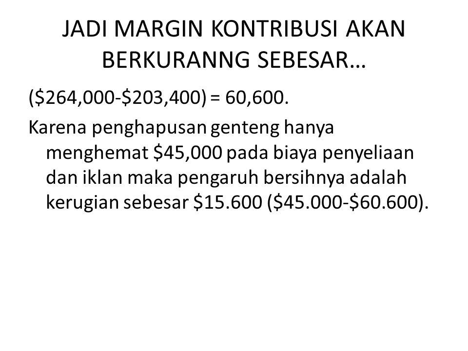 JADI MARGIN KONTRIBUSI AKAN BERKURANNG SEBESAR… ($264,000-$203,400) = 60,600.