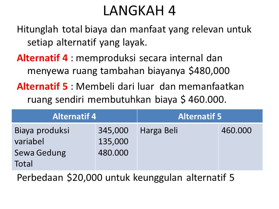 LANGKAH 4 Hitunglah total biaya dan manfaat yang relevan untuk setiap alternatif yang layak.