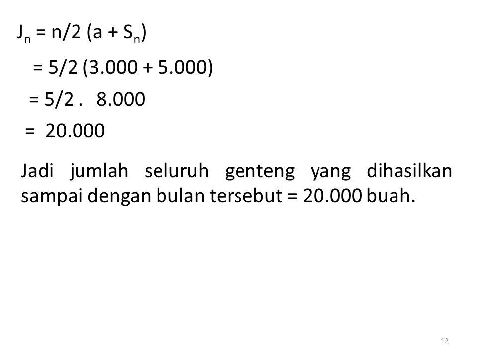 J n = n/2 (a + S n ) = 5/2 (3.000 + 5.000) = 5/2.8.000 = 20.000 Jadi jumlah seluruh genteng yang dihasilkan sampai dengan bulan tersebut = 20.000 buah