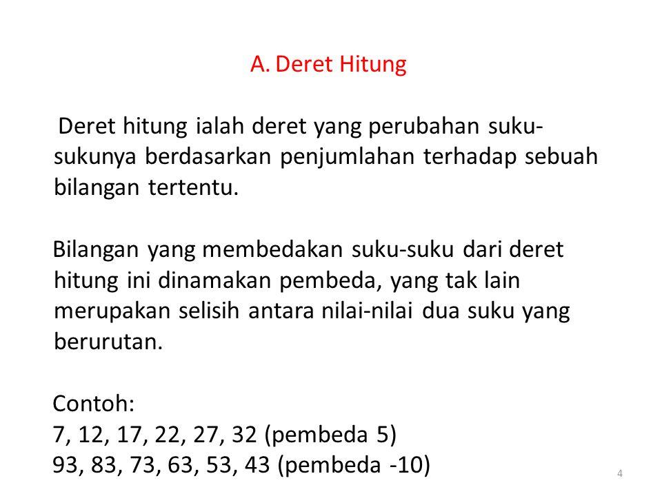 A.Deret Hitung Deret hitung ialah deret yang perubahan suku- sukunya berdasarkan penjumlahan terhadap sebuah bilangan tertentu. Bilangan yang membedak