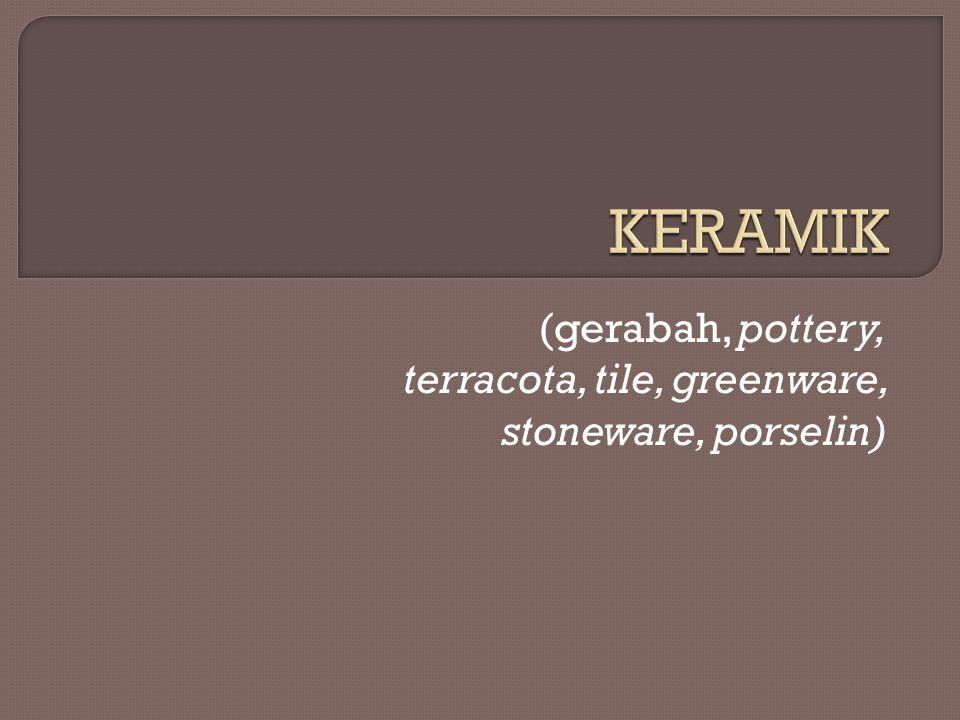 Istilah keramik berasal dari bahasa Yunani yaitu (keramos) yang berarti periuk atau belanga yang dibuat dari tanah liat yang dibakar.