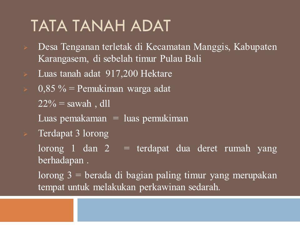 TATA TANAH ADAT  Desa Tenganan terletak di Kecamatan Manggis, Kabupaten Karangasem, di sebelah timur Pulau Bali  Luas tanah adat 917,200 Hektare  0