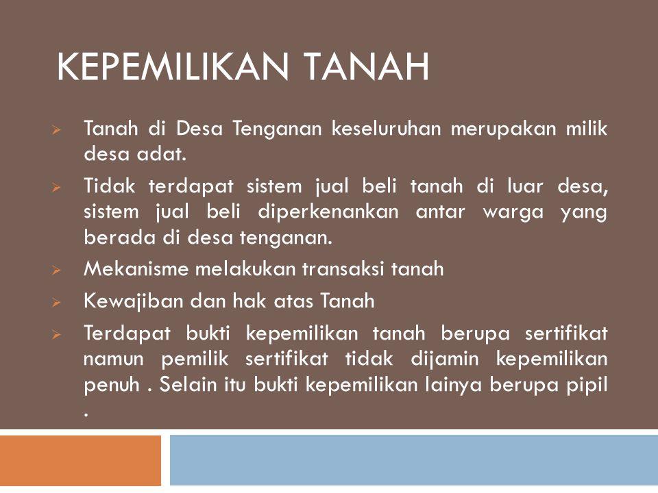 KEPEMILIKAN TANAH  Tanah di Desa Tenganan keseluruhan merupakan milik desa adat.  Tidak terdapat sistem jual beli tanah di luar desa, sistem jual be