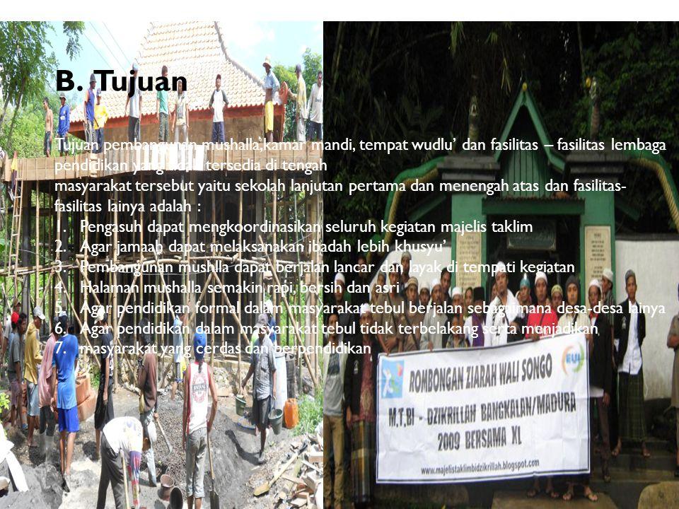 B.Tujuan Tujuan pembangunan mushalla,kamar mandi, tempat wudlu' dan fasilitas – fasilitas lembaga pendidikan yang tidak tersedia di tengah masyarakat