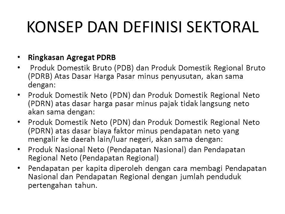 KONSEP DAN DEFINISI SEKTORAL • Ringkasan Agregat PDRB • Produk Domestik Bruto (PDB) dan Produk Domestik Regional Bruto (PDRB) Atas Dasar Harga Pasar m
