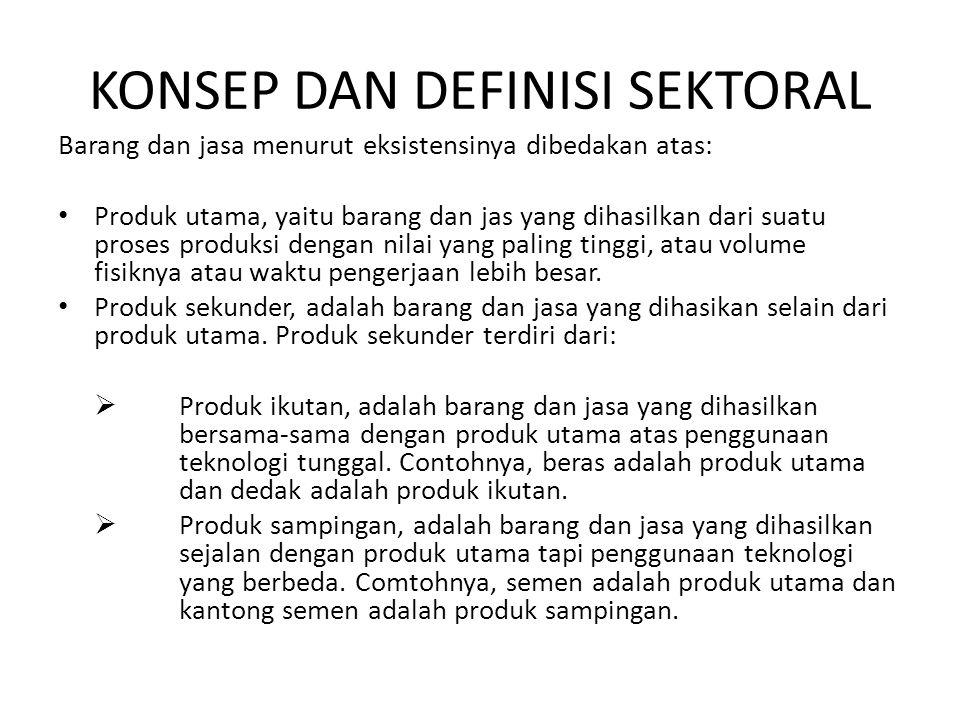 KONSEP DAN DEFINISI SEKTORAL Barang dan jasa menurut eksistensinya dibedakan atas: • Produk utama, yaitu barang dan jas yang dihasilkan dari suatu pro