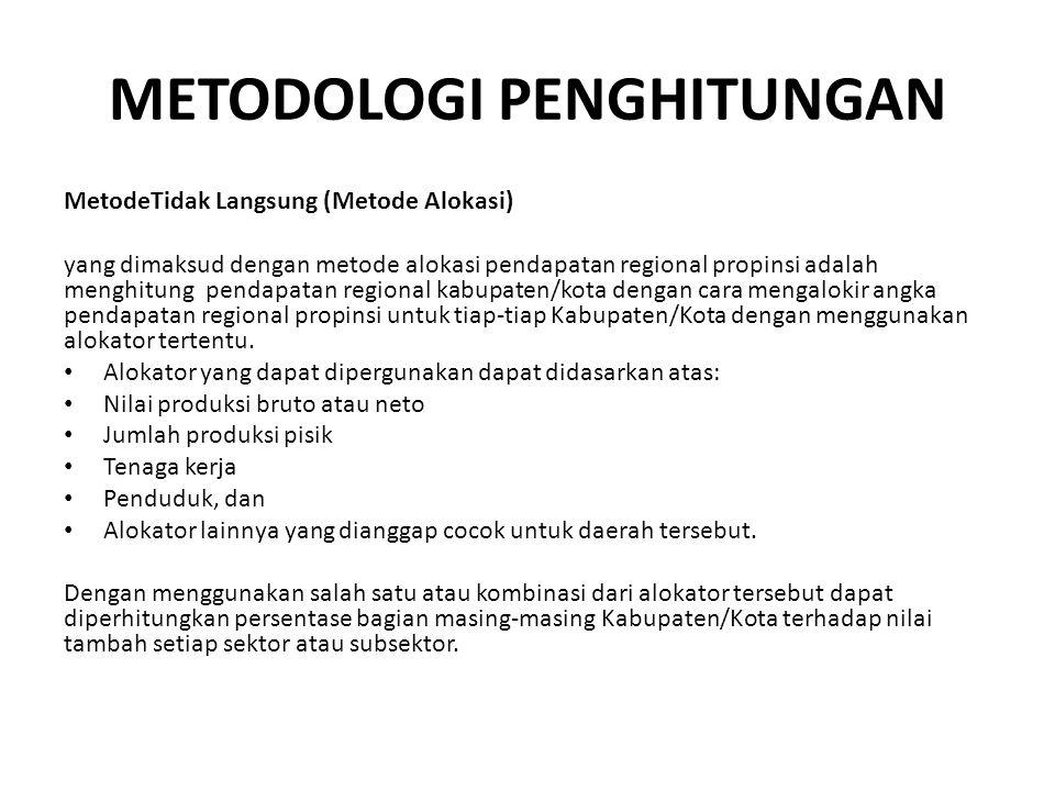 METODOLOGI PENGHITUNGAN MetodeTidak Langsung (Metode Alokasi) yang dimaksud dengan metode alokasi pendapatan regional propinsi adalah menghitung penda
