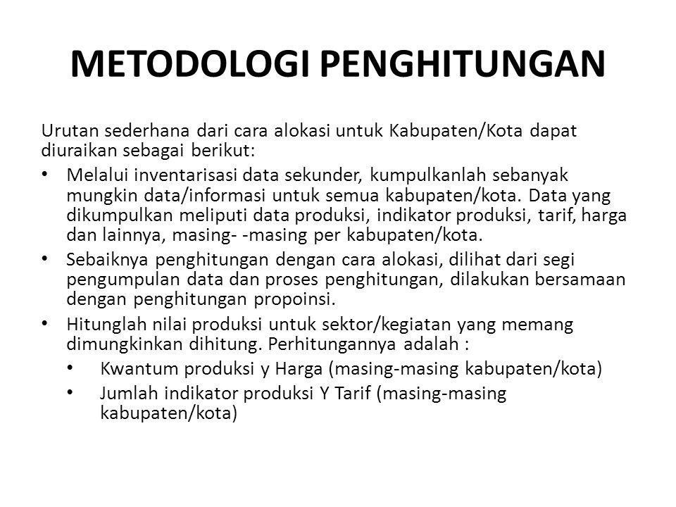 METODOLOGI PENGHITUNGAN Urutan sederhana dari cara alokasi untuk Kabupaten/Kota dapat diuraikan sebagai berikut: • Melalui inventarisasi data sekunder