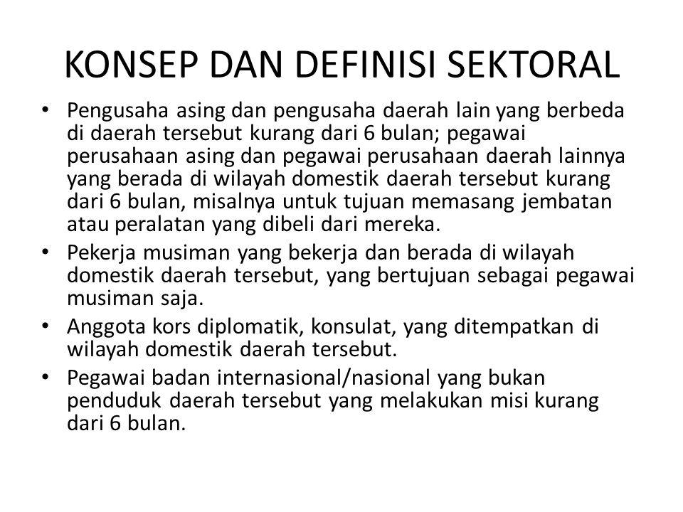 KONSEP DAN DEFINISI SEKTORAL • Pengusaha asing dan pengusaha daerah lain yang berbeda di daerah tersebut kurang dari 6 bulan; pegawai perusahaan asing