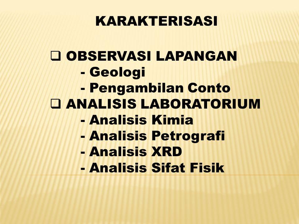 KARAKTERISASI  OBSERVASI LAPANGAN - Geologi - Pengambilan Conto  ANALISIS LABORATORIUM - Analisis Kimia - Analisis Petrografi - Analisis XRD - Anali