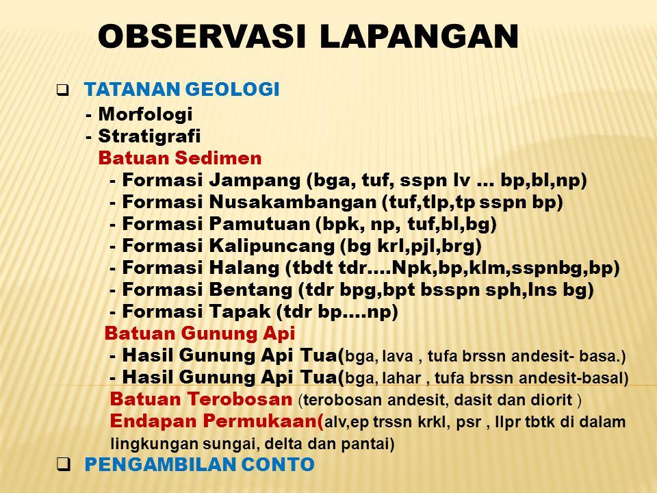 OBSERVASI LAPANGAN  TATANAN GEOLOGI - Morfologi - Stratigrafi Batuan Sedimen - Formasi Jampang (bga, tuf, sspn lv … bp,bl,np) - Formasi Nusakambangan