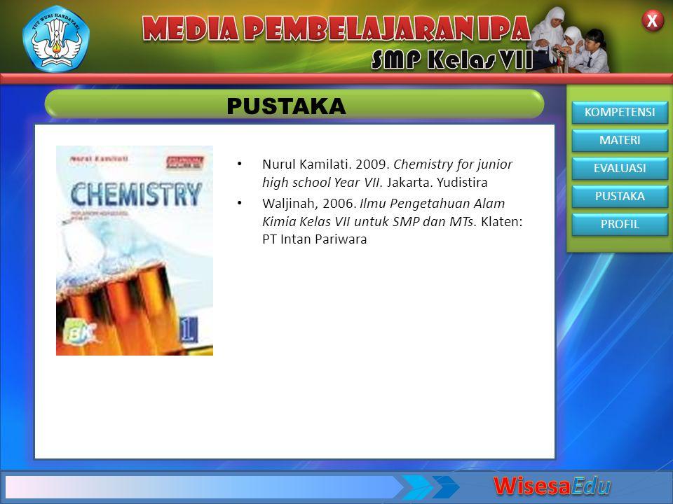 KOMPETENSI MATERI EVALUASI PUSTAKA PROFIL X X PUSTAKA • Nurul Kamilati. 2009. Chemistry for junior high school Year VII. Jakarta. Yudistira • Waljinah