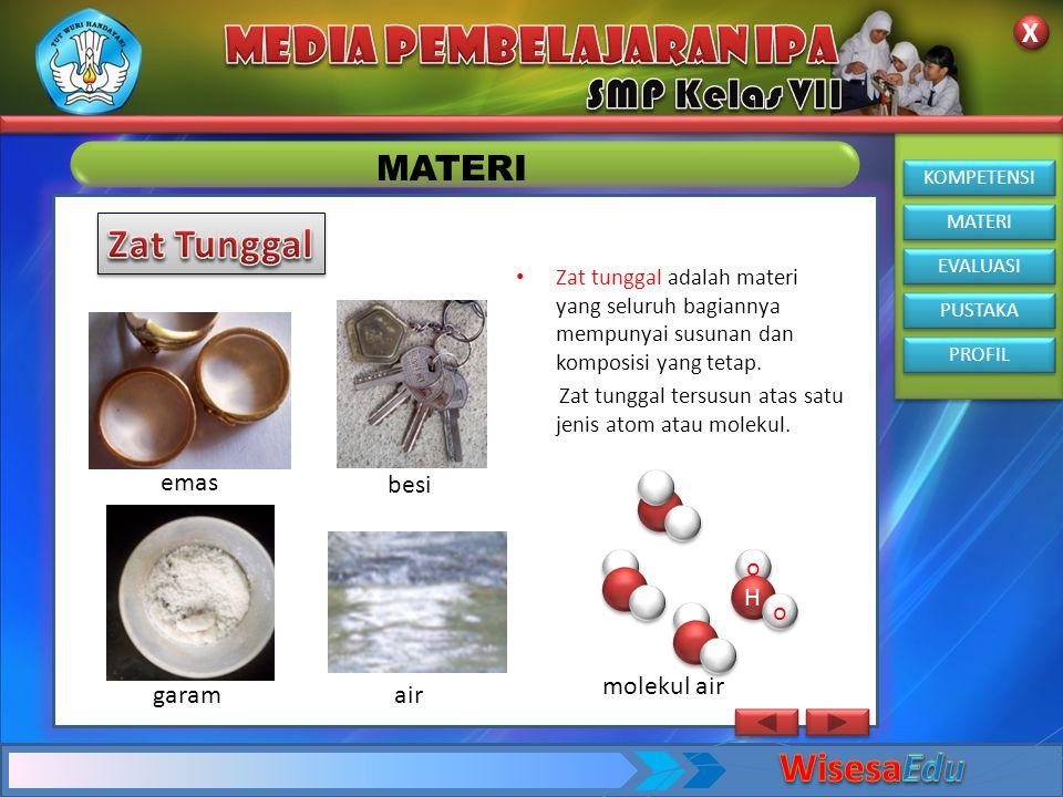 KOMPETENSI MATERI EVALUASI PUSTAKA PROFIL X X MATERI • Campuran merupakan hasil penggabungan dua atau lebih zat yang berbeda tanpa terjadinya reaksi atau perubahan kimia.