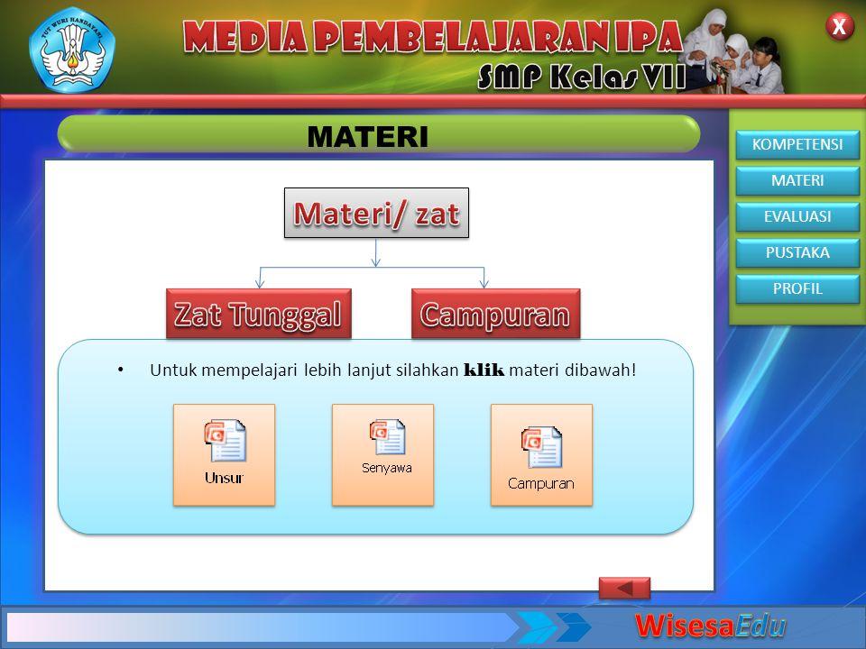 KOMPETENSI MATERI EVALUASI PUSTAKA PROFIL X X MATERI • Untuk mempelajari lebih lanjut silahkan klik materi dibawah!