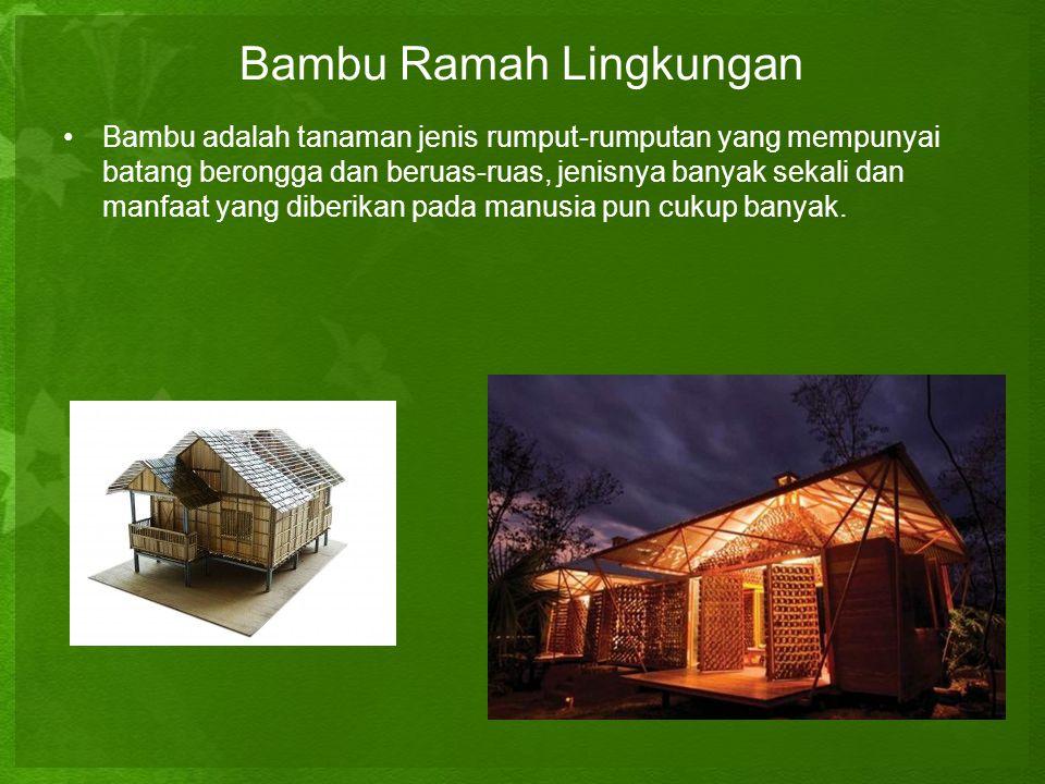 Bambu Ramah Lingkungan •B•Bambu adalah tanaman jenis rumput-rumputan yang mempunyai batang berongga dan beruas-ruas, jenisnya banyak sekali dan manfaa