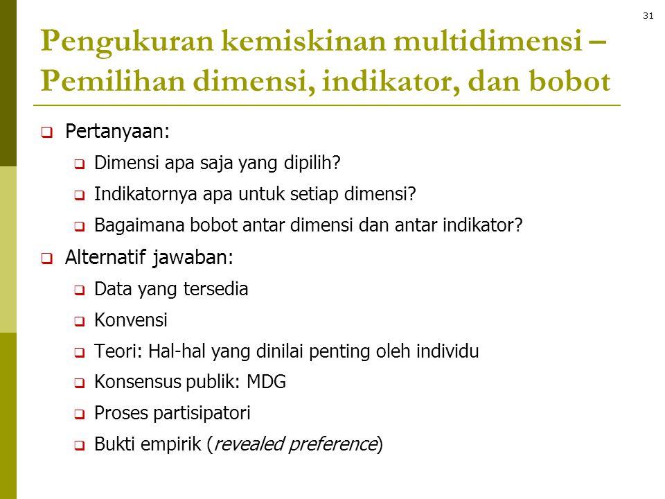 Pengukuran kemiskinan multidimensi – Pemilihan dimensi, indikator, dan bobot  Pertanyaan:  Dimensi apa saja yang dipilih?  Indikatornya apa untuk s