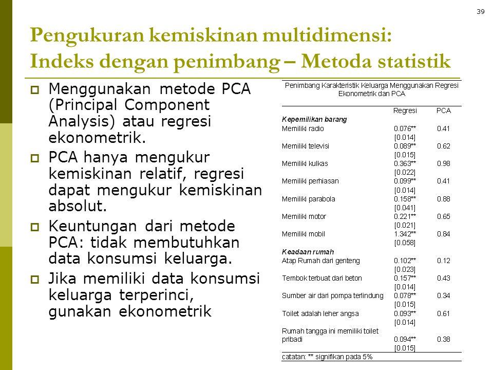  Menggunakan metode PCA (Principal Component Analysis) atau regresi ekonometrik.  PCA hanya mengukur kemiskinan relatif, regresi dapat mengukur kemi