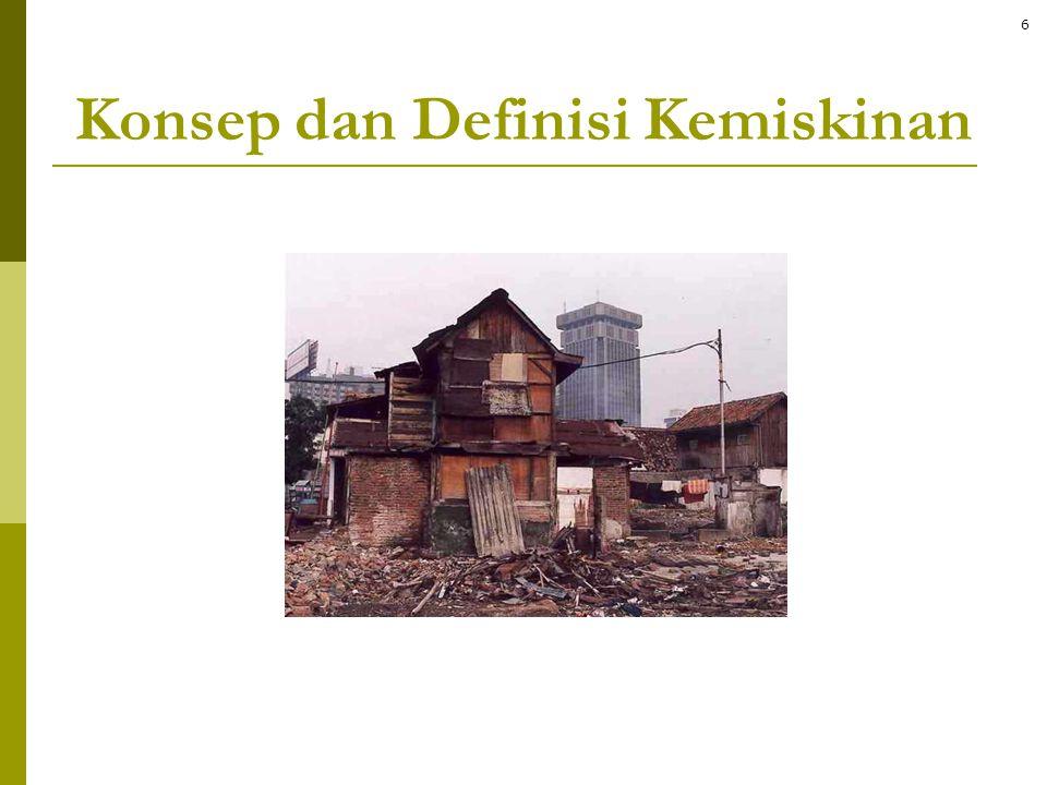 Beberapa definisi umum kemiskinan  Ketidakmampuan untuk memenuhi kebutuhan hidup dasar – definisi ekonomi  diukur dengan kemiskinan pendapatan atau pengeluaran  Kegagalan beberapa kapabilitas: ketiadaan kesempatan dan pilihan untuk dapat hidup secara bermartabat – pendekatan kapabilitas dan keberfungsian dari Amartya Sen  diukur dengan indeks kemiskinan multidimensi  Ketidakmampuan untuk berpartisipasi dalam kehidupan bermasyarakat  pendekatan eksklusi sosial  Penilaian subyektif atau partisipatoris terhadap tingkat kesejahteraan diri sendiri 7