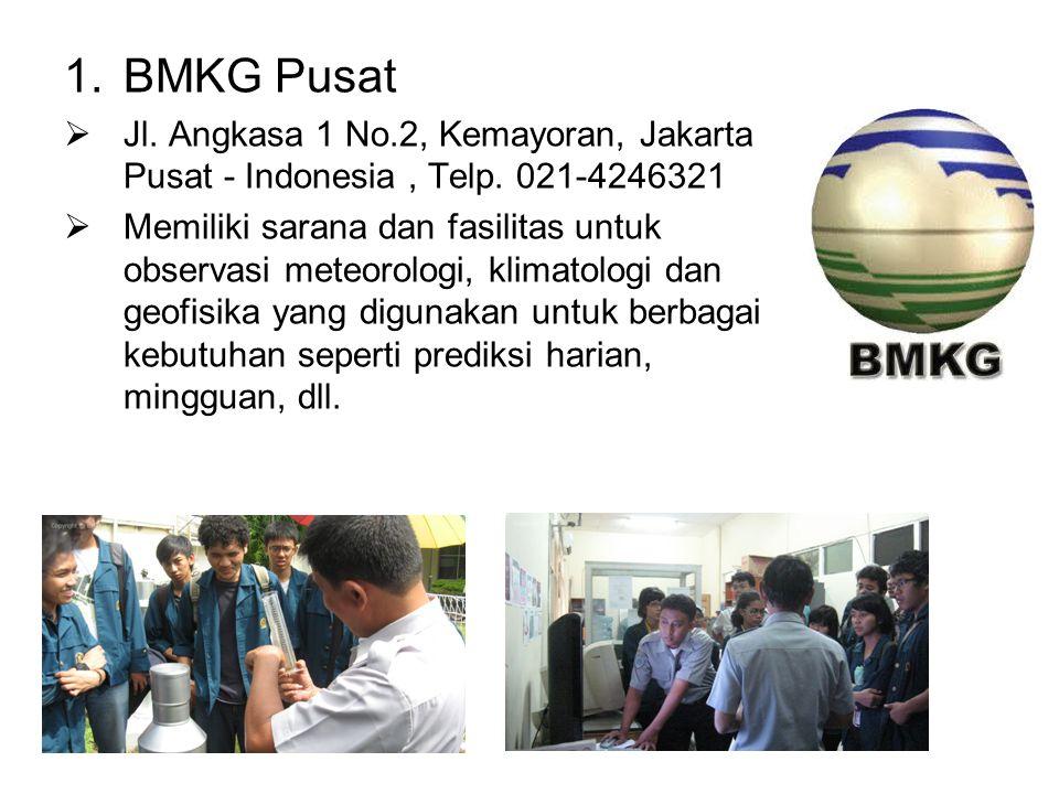 1.BMKG Pusat  Jl. Angkasa 1 No.2, Kemayoran, Jakarta Pusat - Indonesia, Telp. 021-4246321  Memiliki sarana dan fasilitas untuk observasi meteorologi