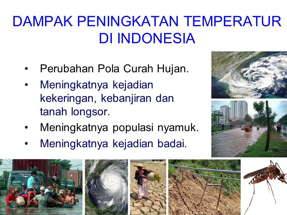 DAMPAK PENINGKATAN TEMPERATUR DI INDONESIA •Perubahan Pola Curah Hujan. •Meningkatnya kejadian kekeringan, kebanjiran dan tanah longsor. •Meningkatnya
