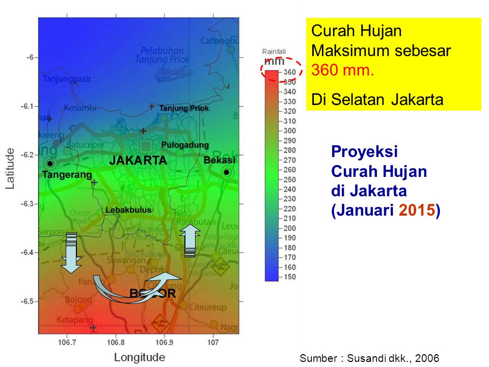 Proyeksi Curah Hujan di Jakarta (Januari 2015) Curah Hujan Maksimum sebesar 360 mm. Di Selatan Jakarta Sumber : Susandi dkk., 2006