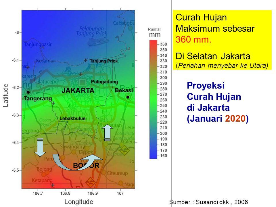 Proyeksi Curah Hujan di Jakarta (Januari 2020) Curah Hujan Maksimum sebesar 360 mm. Di Selatan Jakarta (Perlahan menyebar ke Utara) Sumber : Susandi d