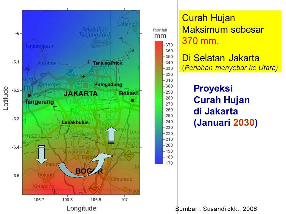 Proyeksi Curah Hujan di Jakarta (Januari 2030) Curah Hujan Maksimum sebesar 370 mm. Di Selatan Jakarta (Perlahan menyebar ke Utara) Sumber : Susandi d