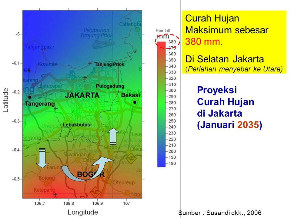 Proyeksi Curah Hujan di Jakarta (Januari 2035) Curah Hujan Maksimum sebesar 380 mm. Di Selatan Jakarta (Perlahan menyebar ke Utara) Sumber : Susandi d