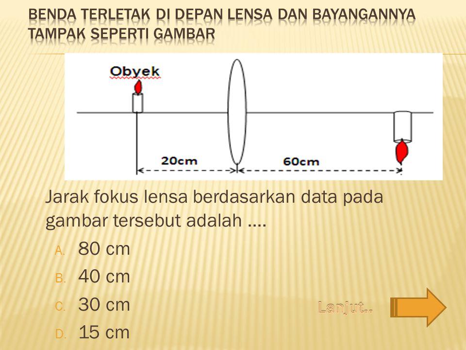 Jarak fokus lensa berdasarkan data pada gambar tersebut adalah …. A. 80 cm B. 40 cm C. 30 cm D. 15 cm