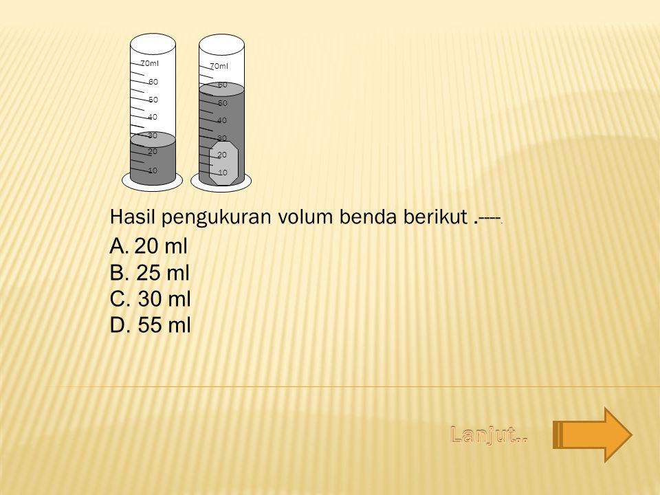 Hasil pengukuran volum benda berikut.----. 10 20 30 40 50 60 70ml 20 30 40 50 60 70ml 10 A.20 ml B. 25 ml C. 30 ml D. 55 ml