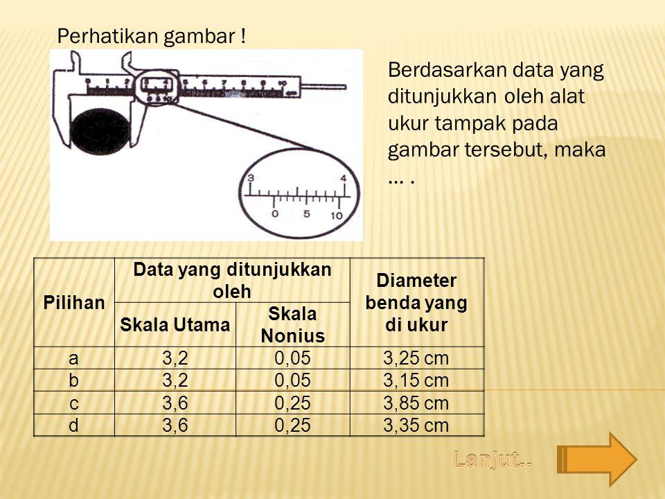 Pilihan Data yang ditunjukkan oleh Diameter benda yang di ukur Skala Utama Skala Nonius a3,20,053,25 cm b3,20,053,15 cm c3,60,253,85 cm d3,60,253,35 c