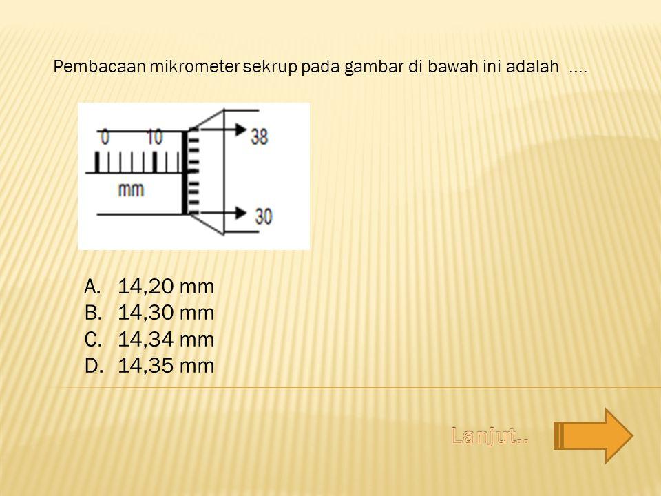 Pembacaan mikrometer sekrup pada gambar di bawah ini adalah.... A.14,20 mm B.14,30 mm C.14,34 mm D.14,35 mm
