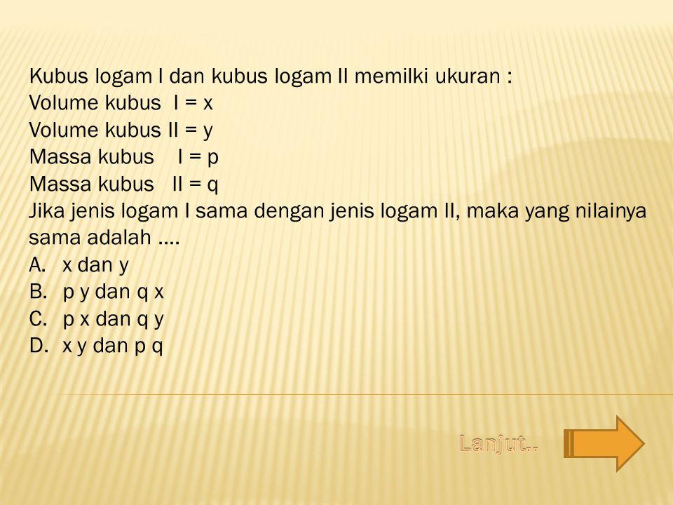 Kubus logam I dan kubus logam II memilki ukuran : Volume kubus I = x Volume kubus II = y Massa kubus I = p Massa kubus II = q Jika jenis logam I sama
