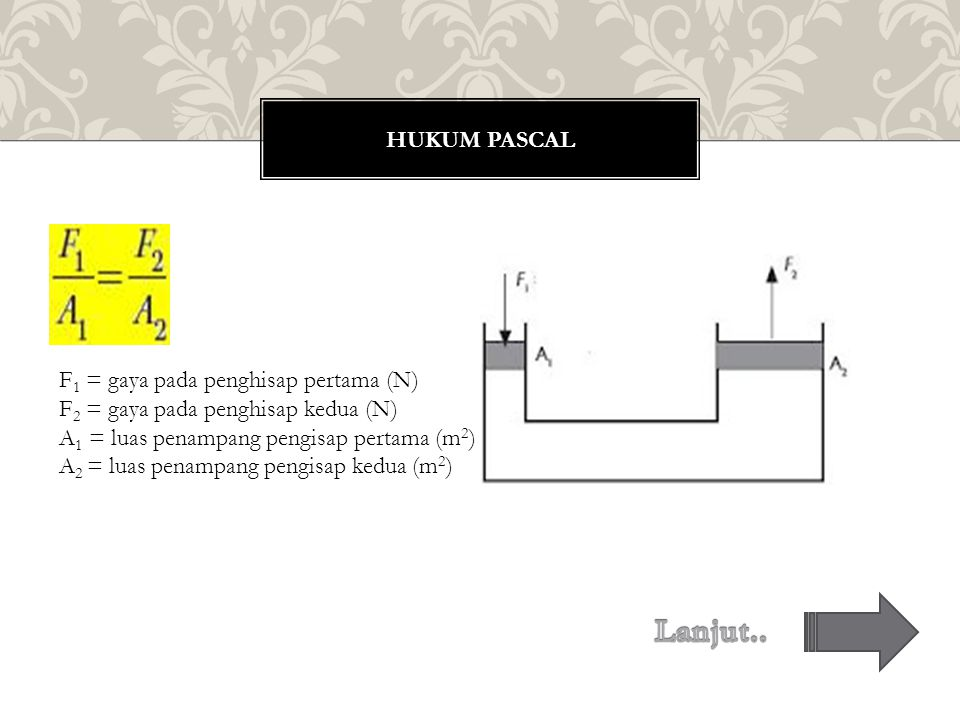 HUKUM PASCAL F 1 = gaya pada penghisap pertama (N) F 2 = gaya pada penghisap kedua (N) A 1 = luas penampang pengisap pertama (m 2 ) A 2 = luas penampang pengisap kedua (m 2 )