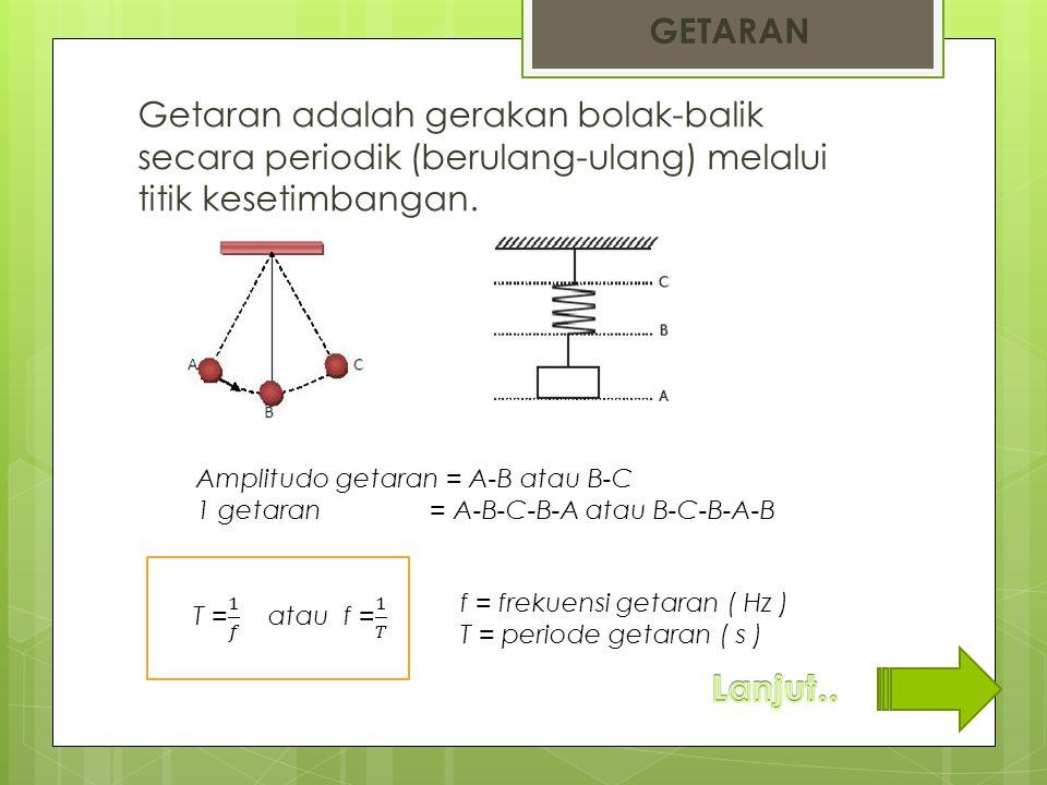 Getaran adalah gerakan bolak-balik secara periodik (berulang-ulang) melalui titik kesetimbangan. GETARAN Amplitudo getaran = A-B atau B-C 1 getaran =