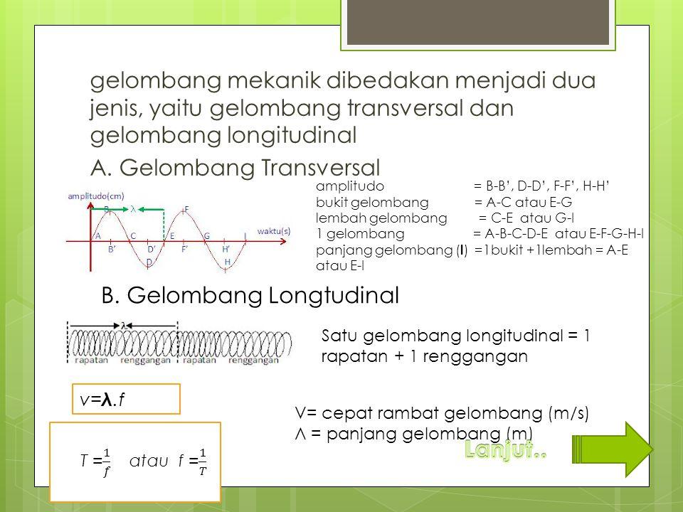 gelombang mekanik dibedakan menjadi dua jenis, yaitu gelombang transversal dan gelombang longitudinal A. Gelombang Transversal B. Gelombang Longtudina