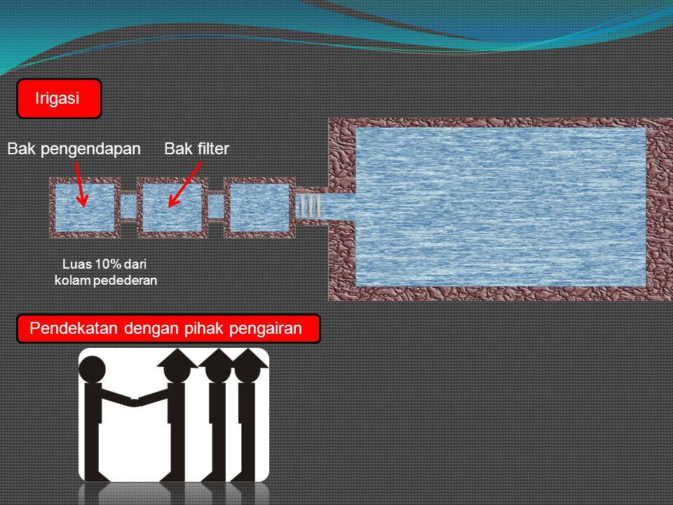 Irigasi Bak pengendapanBak filter Luas 10% dari kolam pedederan Pendekatan dengan pihak pengairan