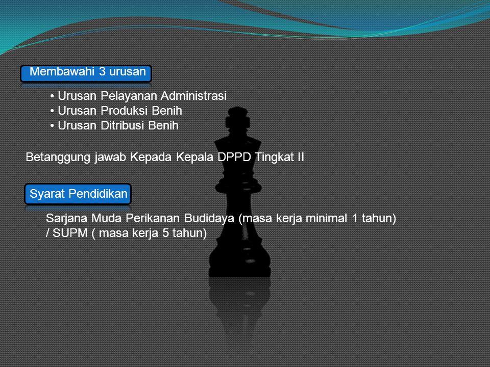 Membawahi 3 urusan • Urusan Pelayanan Administrasi • Urusan Produksi Benih • Urusan Ditribusi Benih Betanggung jawab Kepada Kepala DPPD Tingkat II Syarat Pendidikan Sarjana Muda Perikanan Budidaya (masa kerja minimal 1 tahun) / SUPM ( masa kerja 5 tahun)
