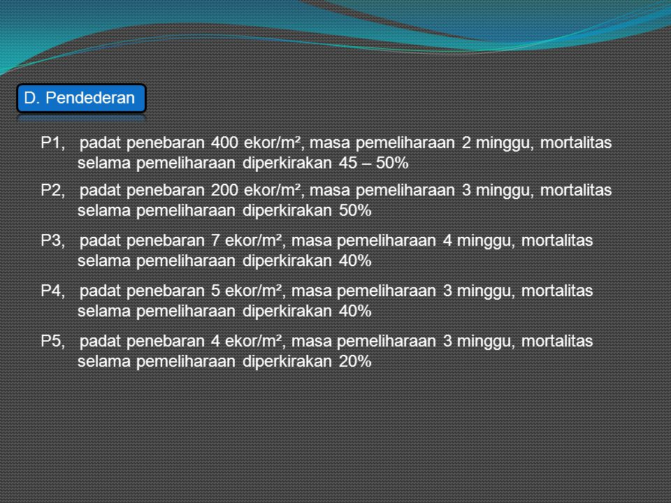 D. Pendederan P1, padat penebaran 400 ekor/m², masa pemeliharaan 2 minggu, mortalitas selama pemeliharaan diperkirakan 45 – 50% P2, padat penebaran 20